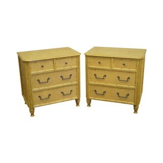 Rattan Chest Nightstands by David Francis - A Pair For Sale