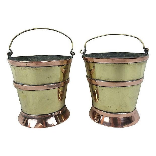 English Brass & Copper Mini Pails - Pair - Image 1 of 2