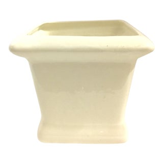 Vintage Polished White Ceramic Planter For Sale