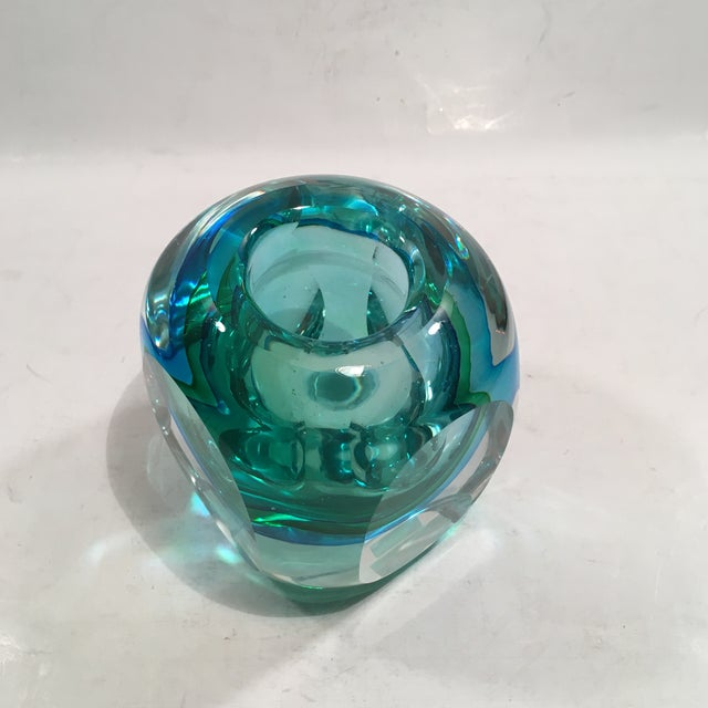 Crystal Cased Green & Blue Glass Candle Holder - Image 6 of 8
