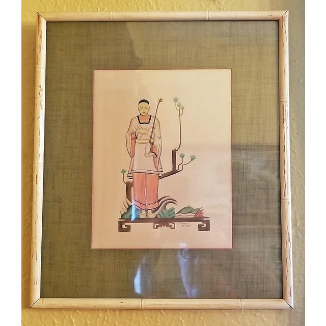 Early 20th Century Art Deco Mixed Media Paintings by Robert Reinhardt Von Liski - a Pair For Sale - Image 12 of 13