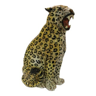 Vintage Italian Terra Cotta Cheetah Statue For Sale