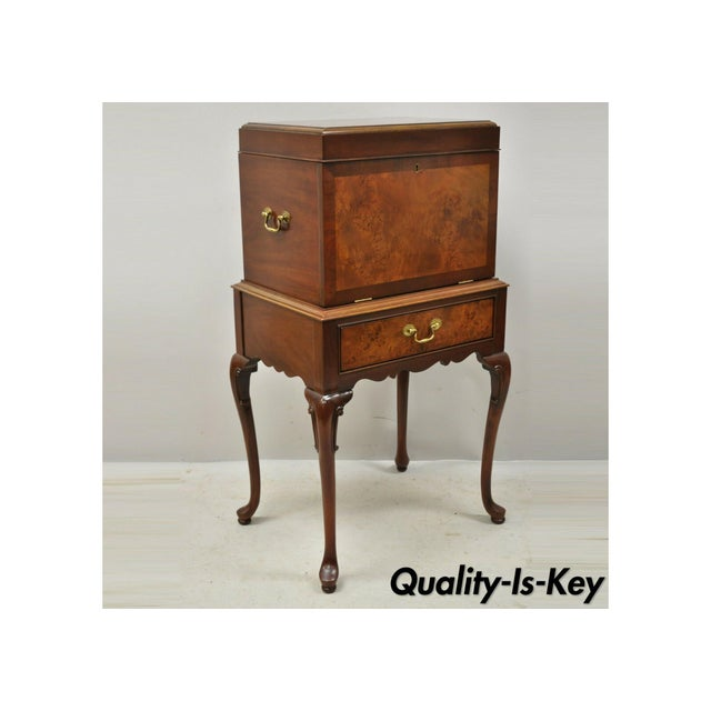 Hickory Chair Co. Mahogany & Burlwood Queen Anne Silverware Silver Chest For Sale - Image 13 of 13