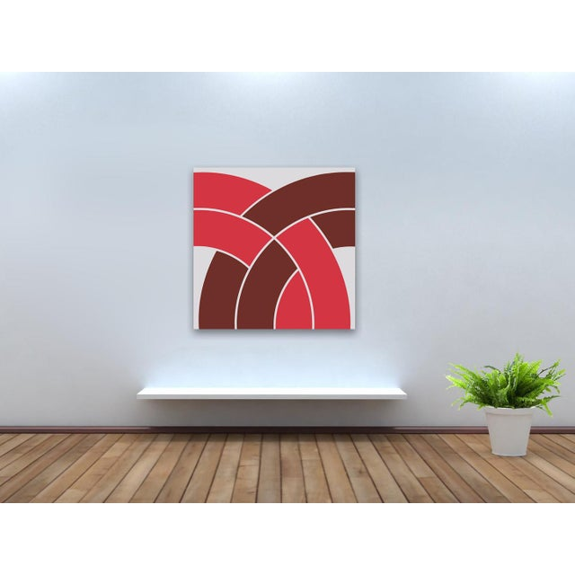 """Red """"Arch"""" Vintage Mid-Century 1970s Supergraphic - Image 2 of 3"""