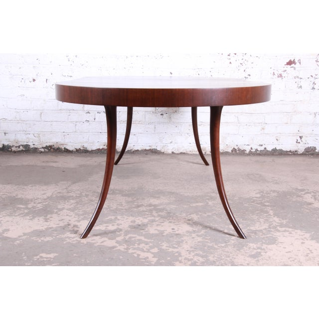 Robsjohn-Gibbings for Widdicomb Mid-Century Modern Walnut Saber Leg Extension Dining Table, Newly Restored For Sale In South Bend - Image 6 of 13