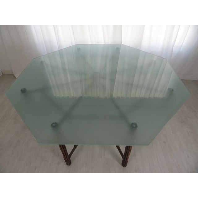 Traditional McGuire Octagonal Bamboo and Rattan Dining Table For Sale - Image 3 of 11