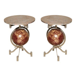 Globe Marble-Top Side Tables - A Pair For Sale