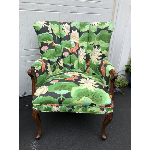 Boho Chic Carved Wood Upholstered Koi Fabric Scallop Back Chairs - Set of 2 For Sale - Image 3 of 8