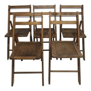 Vintage Wood Slat Folding Chairs - Set of 5 For Sale
