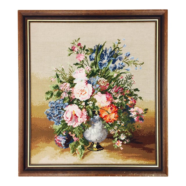 Large Wooden Framed Floral Needlepoint - Image 1 of 5