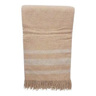 Merino Wool Throw Light Salmon With Soft White Stripes - Made in England For Sale