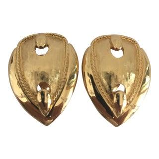 Vintage Monet Buckle Motif Clip Earrings - a Pair For Sale