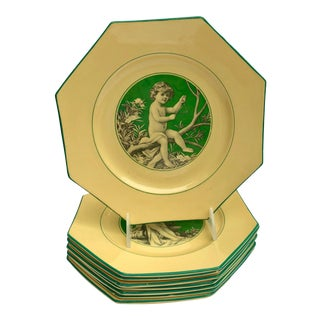 French Sarreguemines Majolica Cupid Plates - Set of 8 For Sale