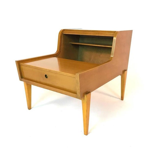 Pair of maple and birch bedside tables by Edmond J Spence. Made in Sweden by Walpole Furniture Co. Freshly refinished.