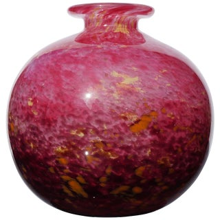 Art Deco French Schneider Bulbous Variegated Red Glass Vase For Sale