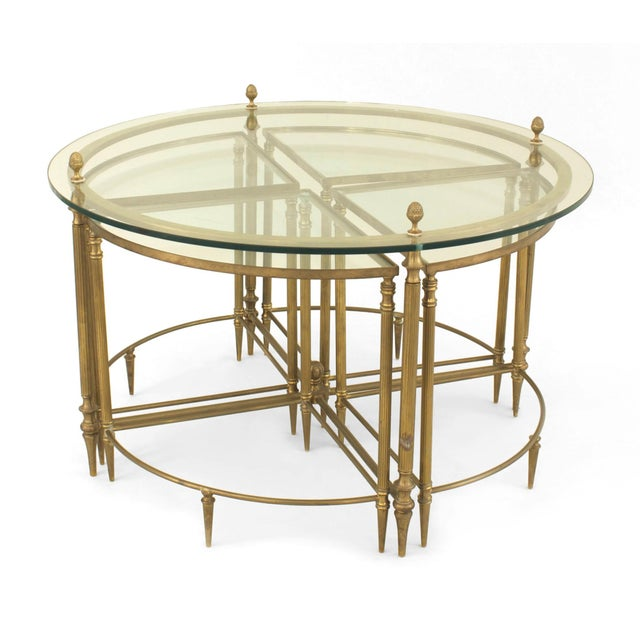Metal Mid-Century American Brass Coffee Table With Four Nested Wedge Tables For Sale - Image 7 of 7