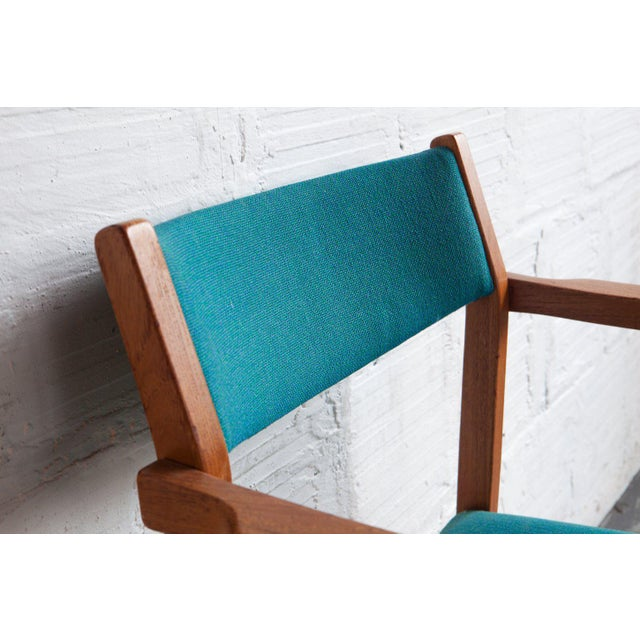Teak 1960s Mid-Century Modern Teal Armchairs - Set of 6 For Sale - Image 7 of 8