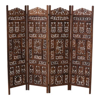20th Century Anglo-Indian Carved Wooden 4-Panel Folding Screen For Sale