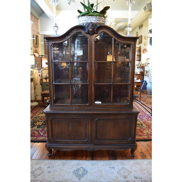 Glass Antique French Style Mahogany Cabinet For Sale - Image 7 of 7