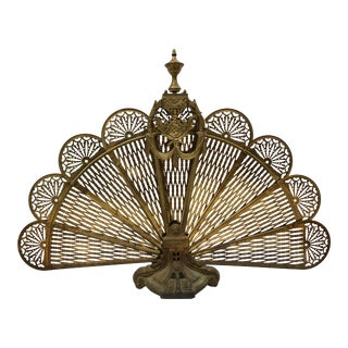 1960s Art Nouveau Brass Peacock Fan Fireplace Screen For Sale