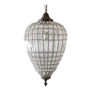 Small French Beaded Teardrop Chandelier For Sale