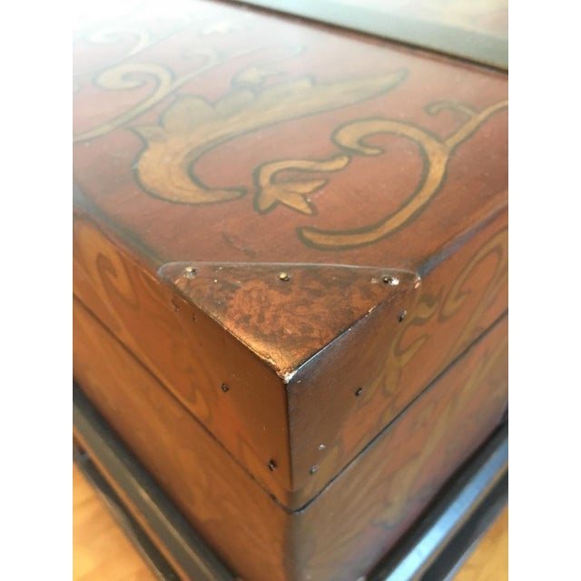 Contemporary Painted Wood Trunk Style Coffee Table - Image 7 of 7