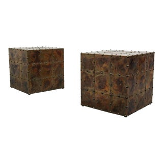Sarreid Style Patinated Copper Cube Side Tables - A Pair