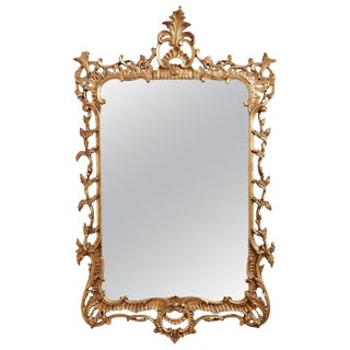 19th Century French Rococo Giltwood Carved Mirror For Sale
