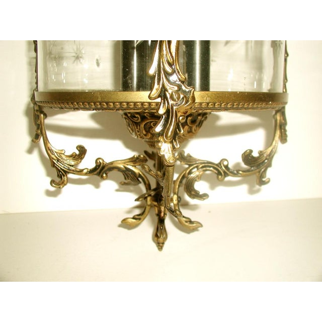 Etched & Rewired German Crystal/Bronze Fixture - Image 5 of 10