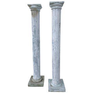 Pair of Tall Distressed Painted Doric Order Columns For Sale