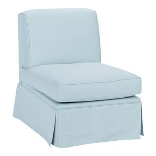 Casa Cosima Skirted Slipper Chair in Porcelain Blue For Sale