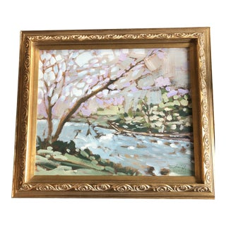 """Original Contemporary Stephen Heigh Impressionist Painting """"Run River Run"""" Ornate Vintage Frame For Sale"""