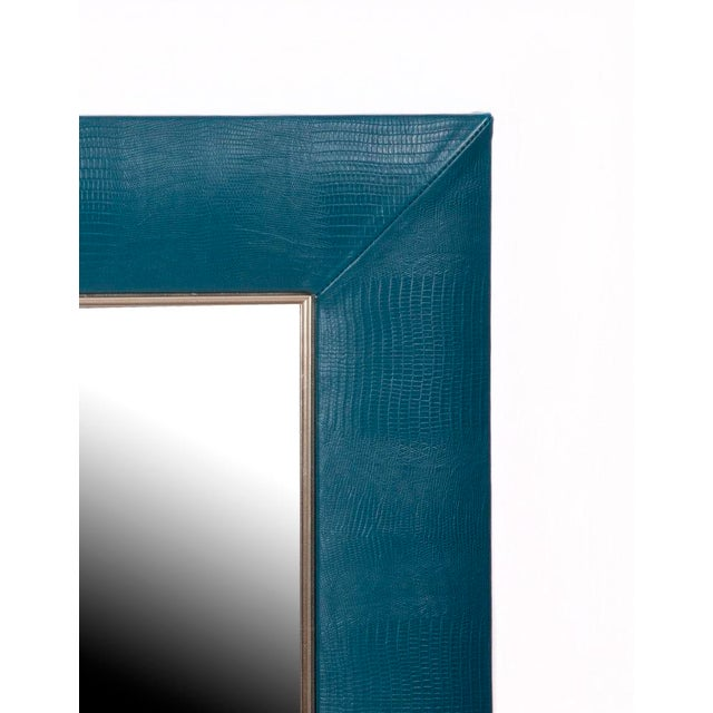 "Teal Blue Lizard Embossed Leather Framed Mirror. Measures – 30 × 36″ including mirror Mirror – 1 1/4"" beveled mirror –..."