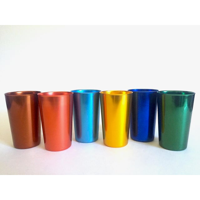 Vintage Mid Century Modern Italy Anodized Spun Aluminum Multicolor Tumbler Cups - Set of 6 For Sale - Image 13 of 13