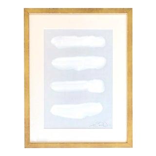 Manifesto on Light Blue Gray Framed Painting For Sale
