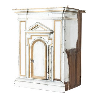 Antique French White Painted Wood Tabernacle For Sale