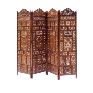 1970s Boho Chic Hand -Carved 4 Panel Screen For Sale