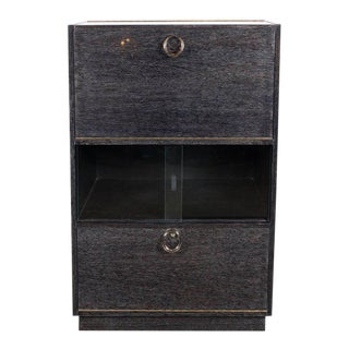 Mid-Century Modern Silver Cerused Oak Dry Bar with Nickeled Pulls For Sale