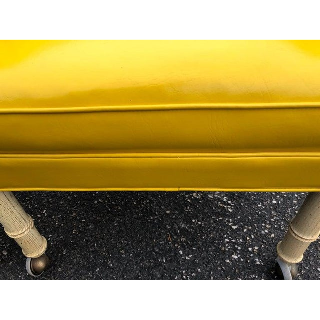 1970s Vintage Yellow Channel Back Vinyl Chairs- A Pair For Sale - Image 11 of 13