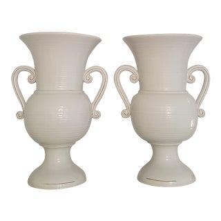 Ceramic Large White/Grey Vases - a Pair