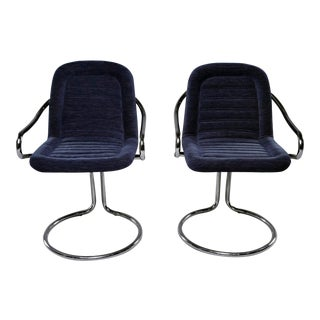 Navy Chenille Scoop Arm Chairs With Chrome Frames - a Pair For Sale
