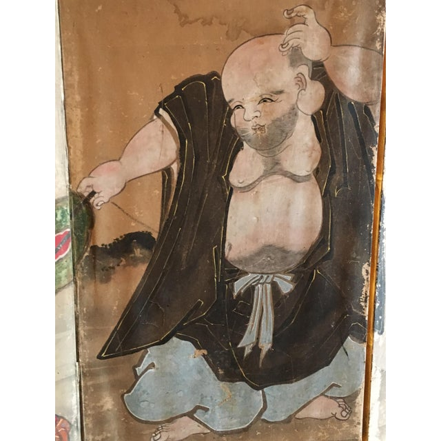Japanese Edo Period Six Panel Screen: Hotei and Boys, early 19th century For Sale In Austin - Image 6 of 8