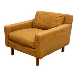 Vintage Mustard Wool Mid Century Modern Cube Chair For Sale
