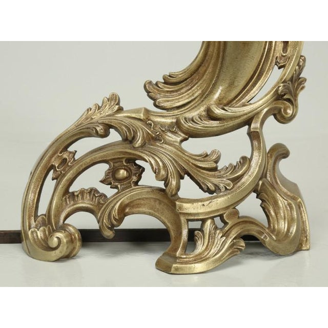 Late 19th Century Antique French Solid Bronze Andirons or Chenets - a Pair For Sale - Image 5 of 9