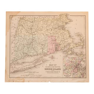 Antique Massachusetts, Connecticut and Rhode Island map