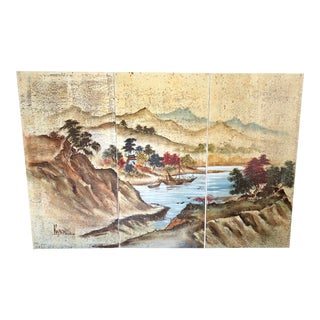Mid Century Lee Reynolds Chinoiserie Landscape Triptych Painting For Sale