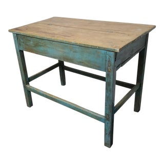 1940s Shabby Chic Farmhouse Blue Wooden Side Table