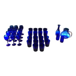 Cobalt Blue Libby Glassware - Set of 34 For Sale