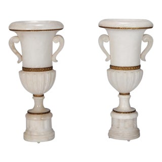 Pair Tall Urn Form Alabaster and Bronze Lamps