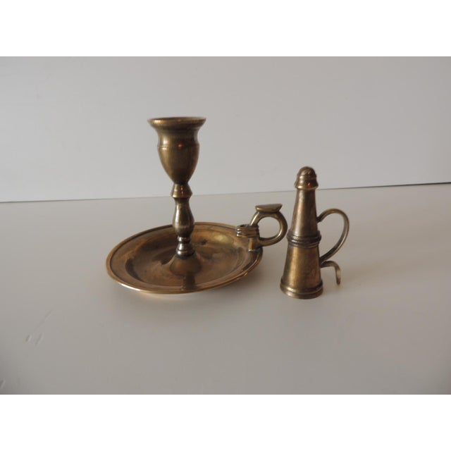 Vintage Brass-Plated Round Candleholder With Snuffer For Sale In Miami - Image 6 of 6